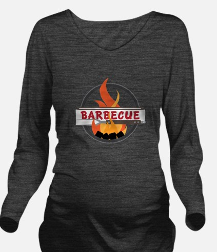 Barbecue Flame Logo Long Sleeve Maternity T-Shirt