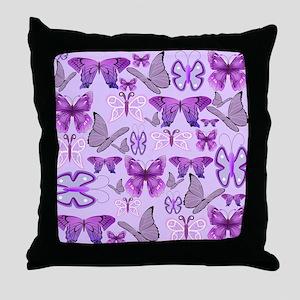 Purple Awareness Butterflies Throw Pillow