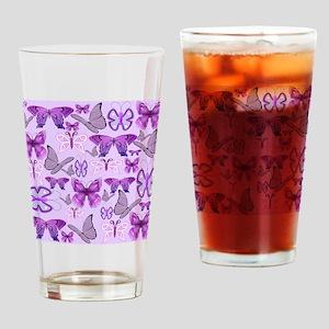 Purple Awareness Butterflies Drinking Glass