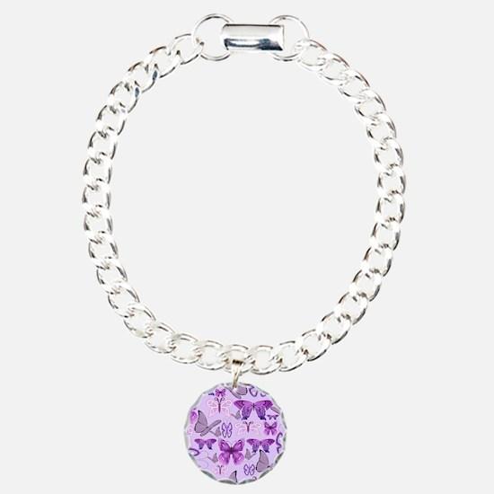 Purple Awareness Butterflies Bracelet