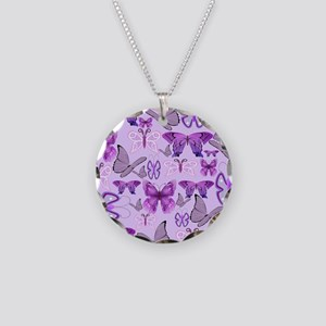 Purple Awareness Butterflies Necklace