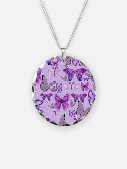 Purple Awareness Butterflies Necklace