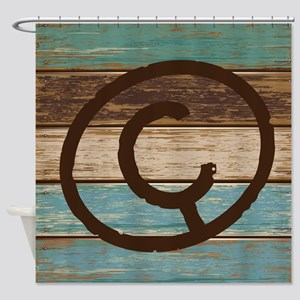 Branding Iron Letter C Wood Shower Curtain