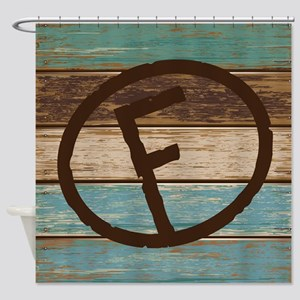 Branding Iron Letter F Wood Shower Curtain