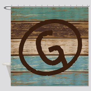 Branding Iron Letter G Wood Shower Curtain