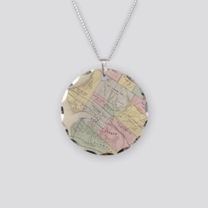 Vintage Map of Oakland Calif Necklace Circle Charm