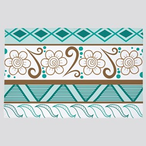Tribal Pattern Teal Brown Stylish 4' x 6' Rug