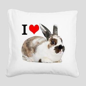 I heart Rabbits Square Canvas Pillow