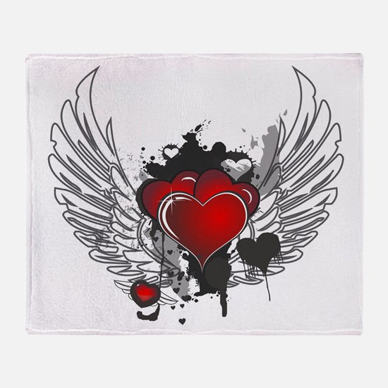 Winged hearts Throw Blanket