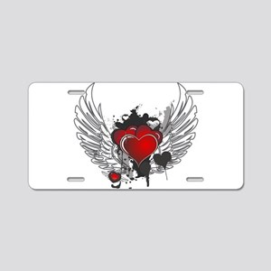 Winged hearts Aluminum License Plate
