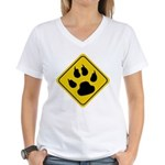 Cat Crossing Sign Women's V-Neck T-Shirt