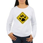 Cat Crossing Sign Women's Long Sleeve T-Shirt