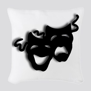 Comedy and Tragedy Theater Mas Woven Throw Pillow