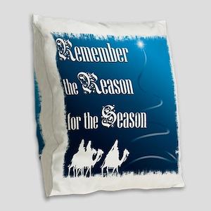 RemembertheReasonfortheSeason_ Burlap Throw Pillow