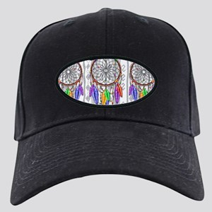 Dreamcatcher Rainbow Feathers Black Cap