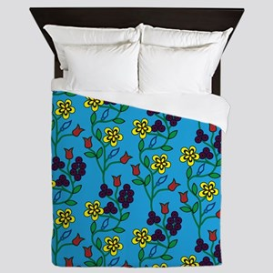 Ojibwe Flowers Queen Duvet