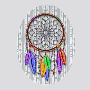Dreamcatcher Rainbow Feathers Ornament (Oval)