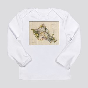 Vintage Map of Oahu Hawaii (19 Long Sleeve T-Shirt