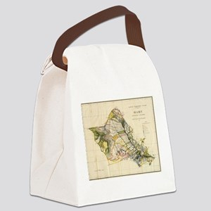 Vintage Map of Oahu Hawaii (1906) Canvas Lunch Bag