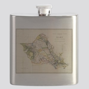 Vintage Map of Oahu Hawaii (1906) Flask
