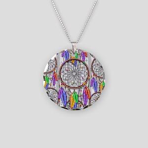 Dreamcatcher Rainbow Feather Necklace Circle Charm