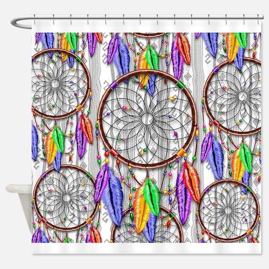 Dreamcatcher Rainbow Feathers Shower Curtain