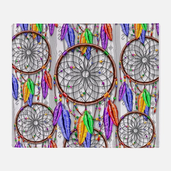 Dreamcatcher Rainbow Feathers Throw Blanket