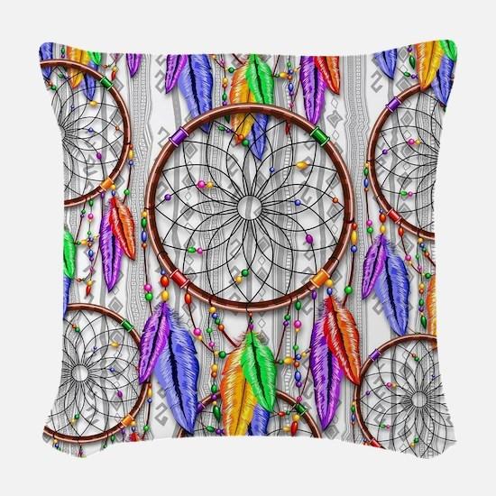 Dreamcatcher Rainbow Feathers Woven Throw Pillow