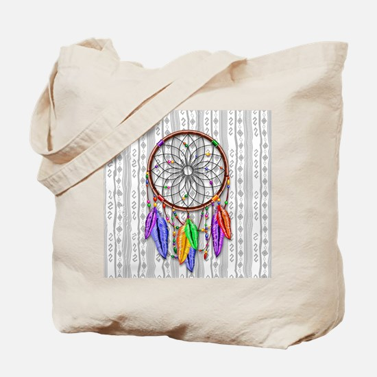 Dreamcatcher Rainbow Feathers Tote Bag