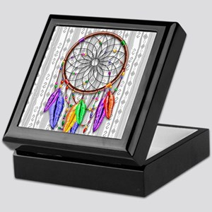 Dreamcatcher Rainbow Feathers Keepsake Box