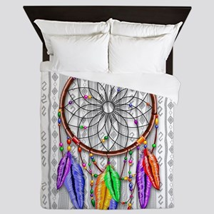 Dreamcatcher Rainbow Feathers Queen Duvet