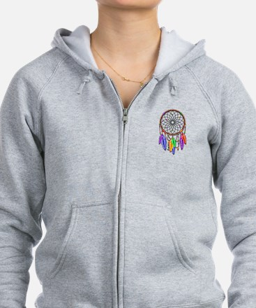 Dreamcatcher Rainbow Feathers Zip Hoodie