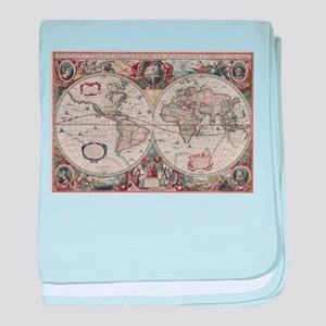 Vintage Map of The World (1630) baby blanket