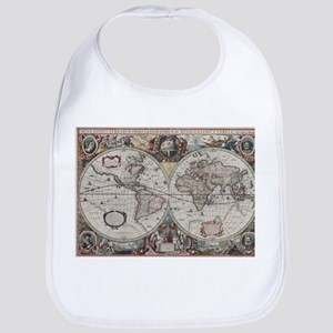Vintage Map of The World (1630) Bib