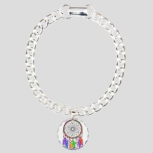 Dreamcatcher Rainbow Fea Charm Bracelet, One Charm