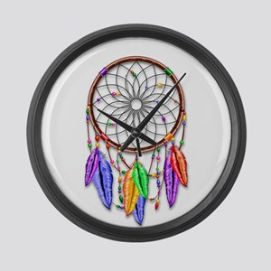 Dreamcatcher Rainbow Feathers Large Wall Clock