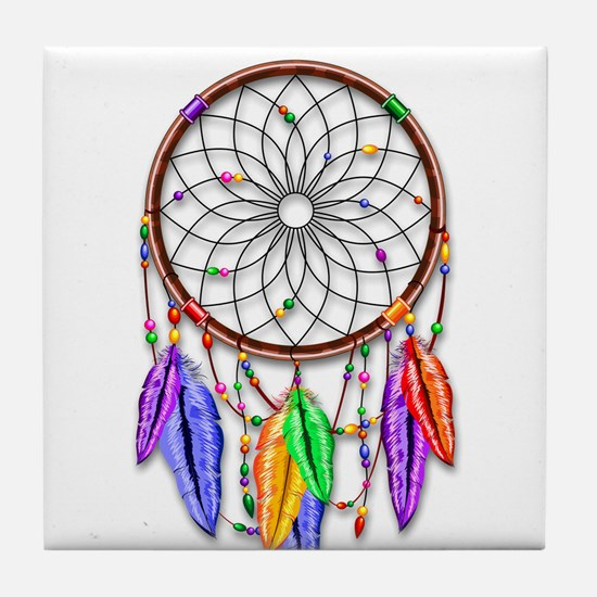 Dreamcatcher Rainbow Feathers Tile Coaster