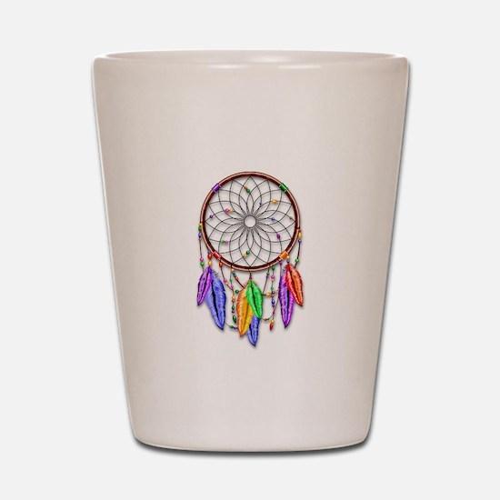 Dreamcatcher Rainbow Feathers Shot Glass
