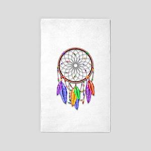 Dreamcatcher Rainbow Feathers Area Rug