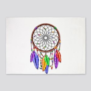 Dreamcatcher Rainbow Feathers 5'x7'Area Rug