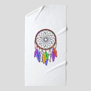 Dreamcatcher Rainbow Feathers Beach Towel