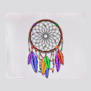 Dreamcatcher Rainbow Feathers Throw Blanket