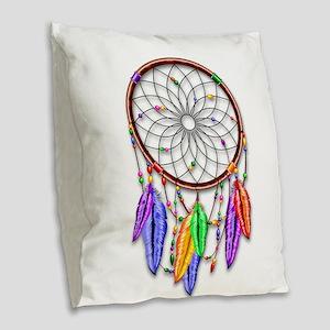Dreamcatcher Rainbow Feathers Burlap Throw Pillow