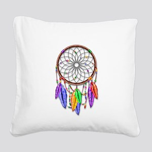 Dreamcatcher Rainbow Feathers Square Canvas Pillow