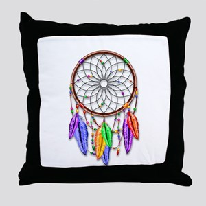 Dreamcatcher Rainbow Feathers Throw Pillow