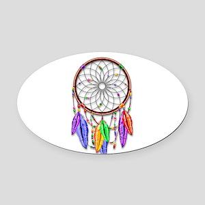 Dreamcatcher Rainbow Feathers Oval Car Magnet