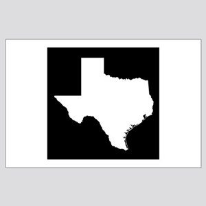 White Texas Outline Large Poster