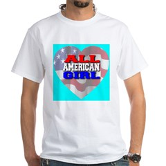 All American Girl Skyblue White T-Shirt