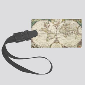 Vintage Map of The World (1680) Large Luggage Tag