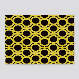 Black and Yellow Eyelets 5'x7'Area Rug